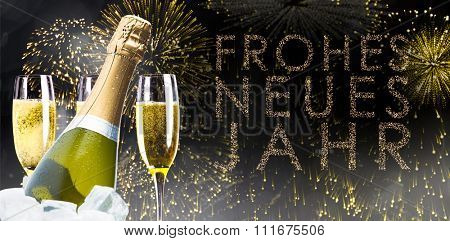 Champagne cooling in ice bucket against glittering frohes neues jahr