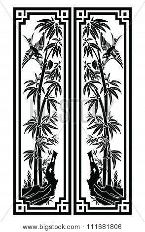 Vector Bamboo Bookmark size illustration isolated on white