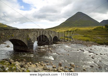Beautiful view of the Cuillin mountain and a arch bridge on the isle of skye, Scotland