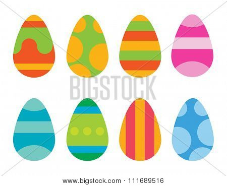 Easter eggs vector icons flat style. Easter eggs isolated vector. Easter eggs for Easter holidays design. Easter eggs icons flat modern style. Easter eggs isolated on white background. Easter eggs