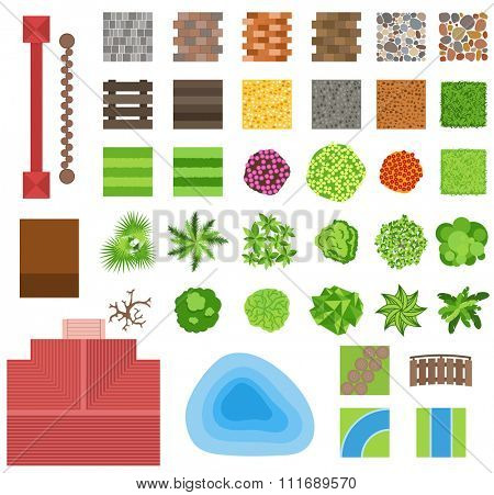 Landscaping garden design elements. Landscaping plants, landscaping trees vector icons isolated. Landscaping plan vector elements icons. Landscape garden design constructor. Landscaping design
