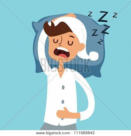 Sleeping man in bad vector illustration. Sleeping man silhouette. Sleeping people vector. Morning time. Man sleeping in pajamas. Deep night or morning time. People sleep, alarms. Sleeping people