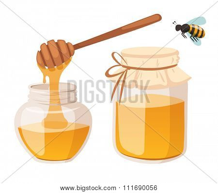 Honey bank vector illustrations. Apiary vector symbol. Bee, honey, honey bank, honeycomb. Honey natural healthy food production. Honey bank isolated. Bee, flowers, beehive and wax. honey bee vector