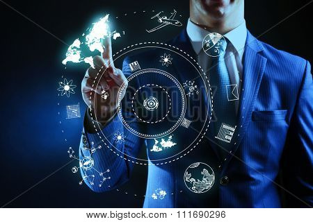 Business, technology and internet concept - businessman pressing button on virtual screen