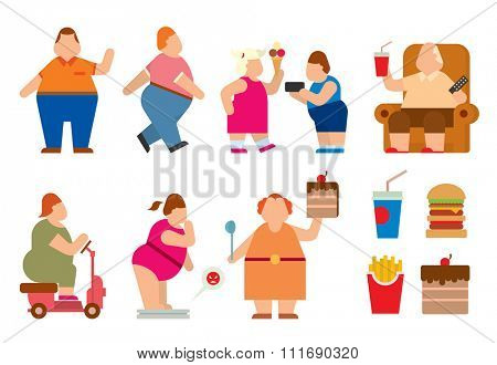 Fat people vector flat silhouette icons. Fat people body icons symbol. Fat people silhouette. Fat people problems. Fat mans, woman, kids children. Fat people food, sport, problems. Fat people icons