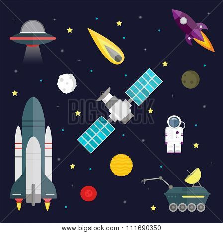 Space travel symbols infographic. Cosmos vector illustration. Space icons, travel spaceship, space travel. Space shuttle and astronaut. Planets set. Planet icons vector infographic. Space icons vector