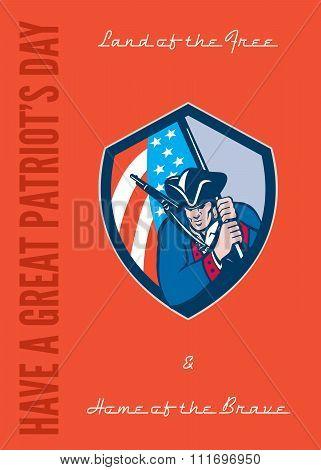 Patriots Day Greeting Card American Patriot Brandishing Flag