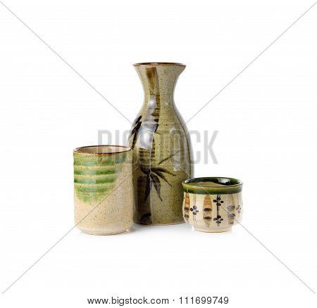 Sake Set On White Background