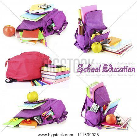 School backpacks, isolated on white
