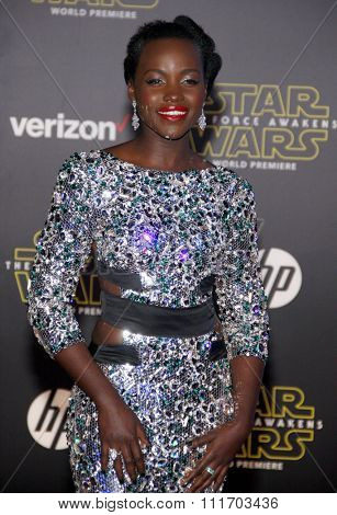 Lupita Nyong'o at the World premiere of 'Star Wars: The Force Awakens' held at the TCL Chinese Theatre in Hollywood, USA on December 14, 2015.