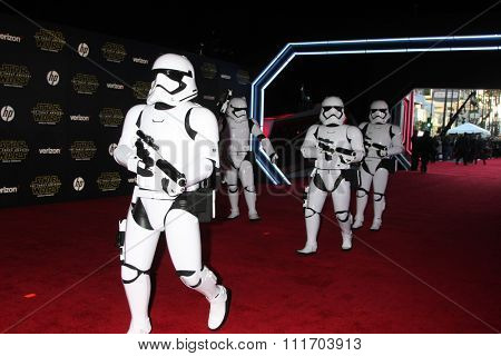 LOS ANGELES - DEC 14:  Storm Troopers at the Star Wars: The Force Awakens World Premiere at the Hollywood & Highland on December 14, 2015 in Los Angeles, CA