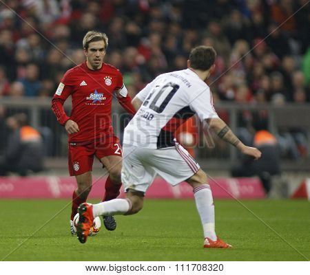 MUNICH, GERMANY - DECEMBER 12 2015: Philipp Lahm of Bayern Munich  during the Bundesliga match between Bayern Muenchen and FC Ingolstadt, on December 12, 2015 in Munich, Germany.