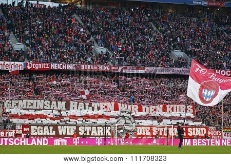 MUNICH, GERMANY - DECEMBER 12 2015: General view of fans during the Bundesliga match between Bayern Muenchen and FC Ingolstadt, on December 12, 2015 in Munich, Germany.