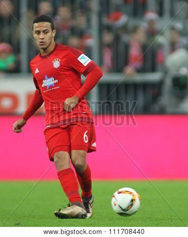 MUNICH, GERMANY - DECEMBER 12 2015: Thiago Alcantara of Bayern Munich  during the Bundesliga match between Bayern Muenchen and FC Ingolstadt, on December 12, 2015 in Munich, Germany.