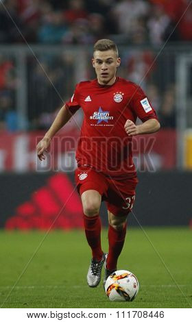 MUNICH, GERMANY - DECEMBER 12 2015: Joshua Kimmich of Bayern Munich  during the Bundesliga match between Bayern Muenchen and FC Ingolstadt, on December 12, 2015 in Munich, Germany.