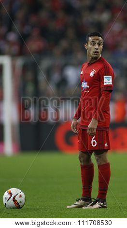 MUNICH, GERMANY - DECEMBER 12 2015: Thiago Alcantara of Bayern Munich  during the Bundesliga match between Bayern Muenchen and FC Ingolstadt, on December 12, 2015 in Munich, Germany.