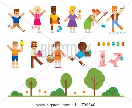 Spring Easter kids playing outdoor. Easter eggs, Easter bunny rabbit. Easter kids play vector icons. Easter children playing. Spring, love, childhood. Easter icons, kids isolated. Easter eggs, easter