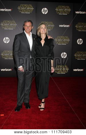 LOS ANGELES - DEC 14:  Bob Iger, Willow Bay at the Star Wars: The Force Awakens World Premiere at the Hollywood & Highland on December 14, 2015 in Los Angeles, CA
