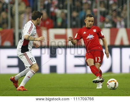 MUNICH, GERMANY - DECEMBER 12 2015: Rafinha of Bayern Munich  during the Bundesliga match between Bayern Muenchen and FC Ingolstadt, on December 12, 2015 in Munich, Germany.