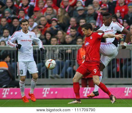 MUNICH, GERMANY - DECEMBER 12 2015: Robert Lewandowski of Bayern Munich  during the Bundesliga match between Bayern Muenchen and FC Ingolstadt, on December 12, 2015 in Munich, Germany.