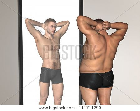 Concept or conceptual 3D fat overweight vs slim fit with muscles young man on diet reflecting in a mirror for weight loss, body, fitness, fatness, obesity, health, healthy, male, dieting or shape