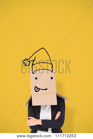 Businesswoman lifting box off head against yellow vignette