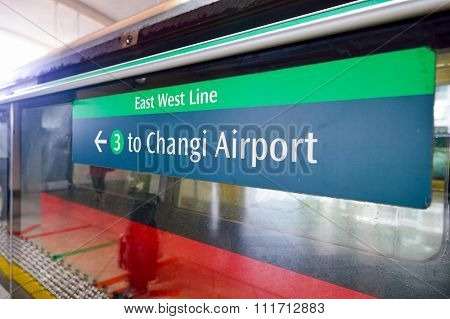SINGAPORE - NOVEMBER 09, 2015: pointer at MRT platform. The Mass Rapid Transit, or MRT, is a rapid transit system forming the major component of the railway system in Singapore.