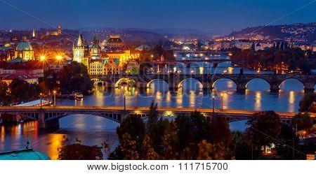 Evening over river Vltava near Charles bridge in Prague, Czech republic