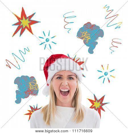 Stressed blonde in santa hat against swearing doodles