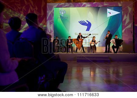 ST. PETERSBURG, RUSSIA - DECEMBER 14, 2015: Musicians preform during the award ceremony Philanthropist of the Year at the 4th St. Petersburg International Cultural Forum. Alisher Usmanov got the award