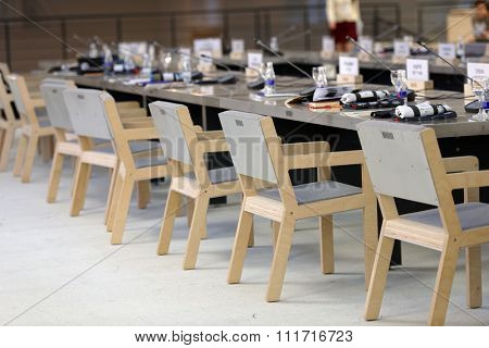 ST. PETERSBURG, RUSSIA - DECEMBER 13, 2015: Empty seats during the coffee break in the round table discussion in the central exhibition hall Manege during St. Petersburg International Cultural Forum