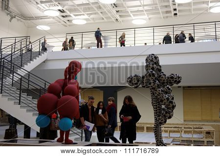 ST. PETERSBURG, RUSSIA - DECEMBER 13, 2015: Visitors in the central exhibition hall Manege during 4th St. Petersburg International Cultural Forum. Round table discussions of the Forum was held here