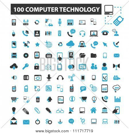 computer technology, network, connection, hosting, database, pc icons, signs vector concept set for infographics, mobile, website, application