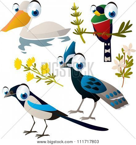 vector cute cartoon set of comic animals:magpie, pelican, pheasant, bird. useful for kids mobile apps, flash card games, invitations, wall decor and other