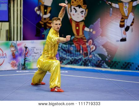 JAKARTA, INDONESIA - NOVEMBER 17, 2015: Justin Benedik of the USA performs the movements in the men's Compulsory Changquan event in the 13th World Wushu Championship 2015 in Istora Senayan Stadium.