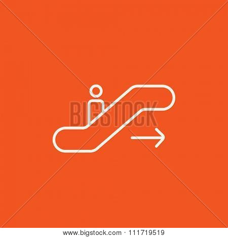 Gangway of the plane line icon for web, mobile and infographics. Vector white icon isolated on red background.