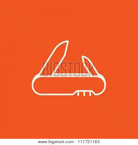 Jackknife line icon for web, mobile and infographics. Vector white icon isolated on red background.