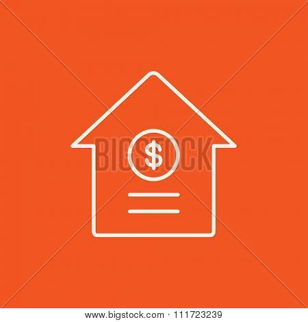 House with dollar symbol line icon for web, mobile and infographics. Vector white icon isolated on red background.