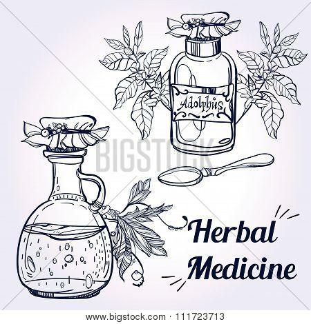 Illustration of herbal medicine.