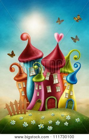 Fantasy colorful houses and butterflies