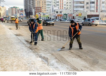 Russian Snow Clearers At Work On A Road