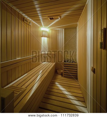 The interior of a sauna