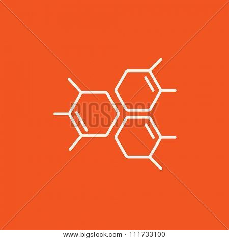 Chemical formula line icon for web, mobile and infographics. Vector white icon isolated on red background.