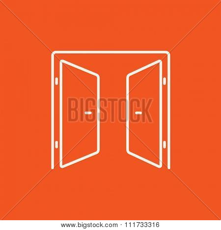 Open doors line icon for web, mobile and infographics. Vector white icon isolated on red background.