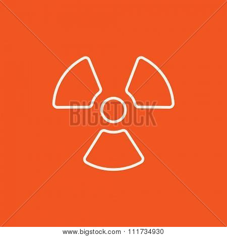 Ionizing radiation sign line icon for web, mobile and infographics. Vector white icon isolated on red background.