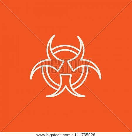 Bio hazard sign line icon for web, mobile and infographics. Vector white icon isolated on red background.
