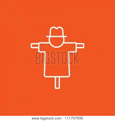 Scarecrow line icon for web, mobile and infographics. Vector white icon isolated on red background.