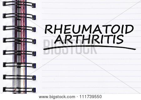 Rheumatoid Arthritis Words On Spring Note Book