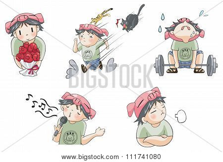 Piggy pig boy with tiger pet cartoon character icon in various action and expression such as love co