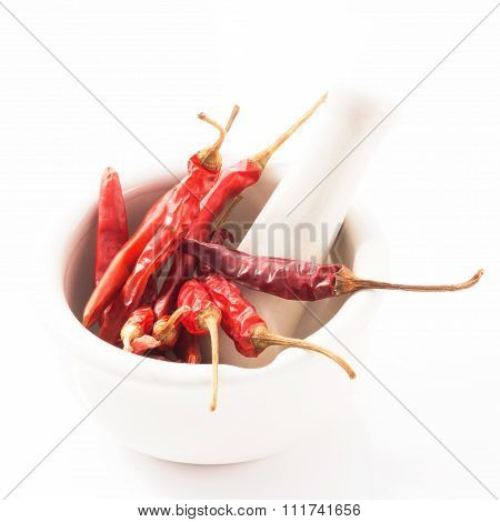 Red Chili In White Mortar Red Chili Isolated On White Background.